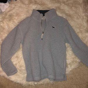 VS Love Pink Grey Fur Sweater